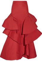 Rosie Assoulin Lettuce Be Tiered Seersucker Maxi Skirt