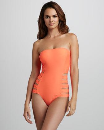 6 Shore Road 6 Shoreroad Contadora Neon Cutout Bandeau One-Piece Swimsuit