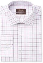 Tasso Elba Men's Classic/Regular Fit Non-Iron Mulberry White Windowpane Dress Shirt, Created for Macy's