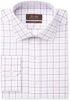 Tasso Elba Men's Classic/Regular Fit Non-Iron Mulberry White Windowpane Dress Shirt, Only at Macy's
