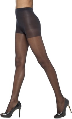 Hue So Silky Sheer Control Top Pantyhose with Invisible Reinforced Toe (Pack of 3) Black 1