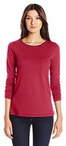 Three Dots Women's Long Sleeve Pocket Tipped Tee