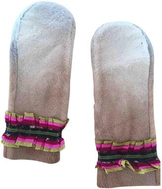 John Galliano Beige Rabbit Gloves