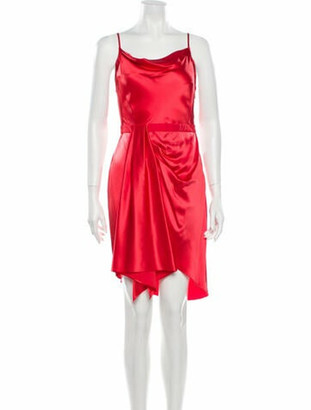 Fleur Du Mal Silk Knee-Length Dress Red