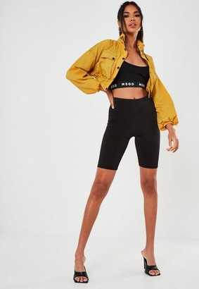 Missguided Mustard Contrast Stitch Cropped Utility Jacket