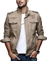Tanming Men's Cotton Full Zip Muti-Pockets Jackets With Patches