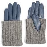 Topshop Women's Wool-Blend Cuff Genuine Leather Gloves