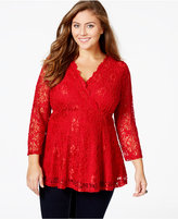 American Rag Plus Size Lace Surplice Top, Only at Macy's