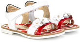 MonnaLisa floral sandals - kids - Cotton/Leather/rubber - 20