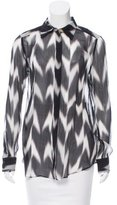 Rachel Zoe Printed Silk Button-Up Top w/ Tags