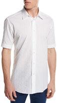 Brioni Short-Sleeve Plaid Jacquard Shirt, White