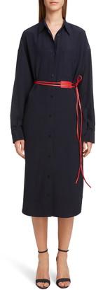 Victoria Beckham Belted Long Sleeve Silk Shirtdress