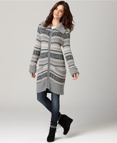 DKNY Jeans Sweater, Long Sleeve Fair Isle Zip Up