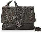 Corsia Black Wrinkled Leather Flap Crossbody