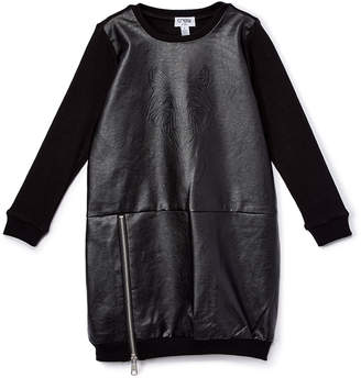 Crew Kids Girls' Casual Dresses As - Black Zip-Detail Faux-Leather Sweater Dress - Toddler & Girls