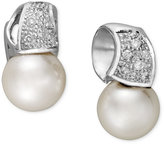 Belle de Mer 14k White Gold Earrings, Cultured Freshwater Pearl (9mm) and Diamond (1/5 ct. t.w.) Wave Stud Earrings