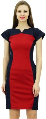 Bimba Women Designer Denim Bodycon Dress Cap Sleeve Short Panel Dresses
