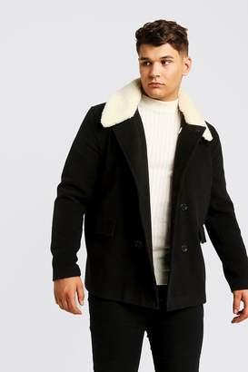 BoohoomanBoohooMAN Mens Black Big & Tall Borg Collar Wool Blend Pea Coat, Black
