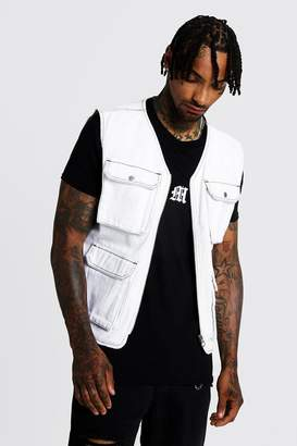 boohoo Utility Vest With Contrast Stitch