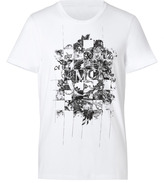 McQ by Alexander McQueen Cotton Puzzle Print T-Shirt in Optic White