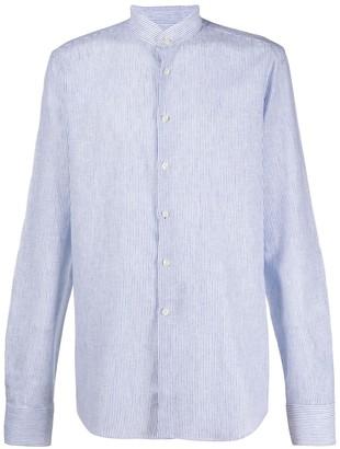 Dell'oglio Mandarin Collar Striped Shirt