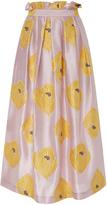Suno Metallic Floral Midi Skirt