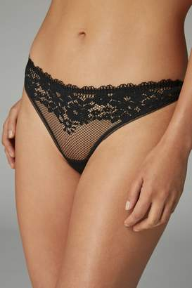 Next Womens Black Thong Lace Knickers - Black