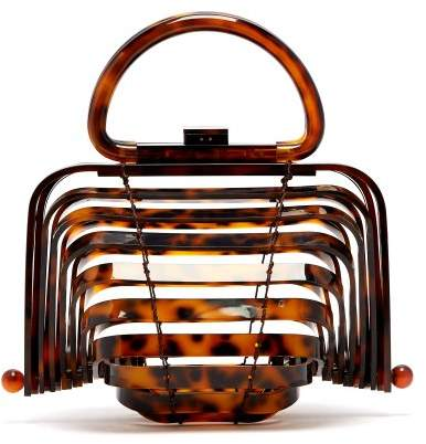 Cult Gaia Lilleth Acrylic Top Handle Bag - Womens - Tortoiseshell