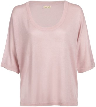 Asneh Barely Pink Gretha Batwing Top In Silk Cashmere