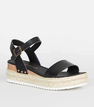 New Look Leather-Look Espadrille Flatform Sandals