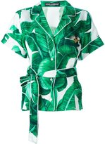 Dolce & Gabbana leaf print wrap shirt