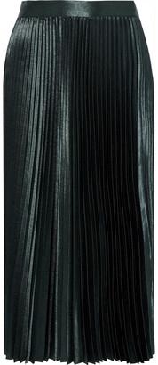 Elie Tahari Sue Pleated Satin-crepe Midi Skirt