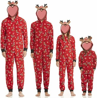 Huyghdfb Family Matching Christmas Onesies Pajama Sets Reindeer Sleepwear Xmas Pyjamas Set Loungewear for Adults Kids (Red Womens S)