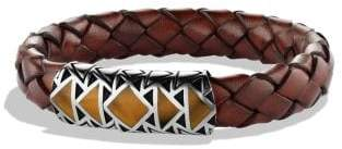 David Yurman Southwest Bracelet With Tiger's Eye In Brown Leather