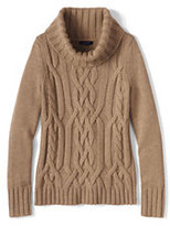 Lands' End Women's Merino Blend Cable Cowl Neck Sweater-Soft Camel/White Canvas