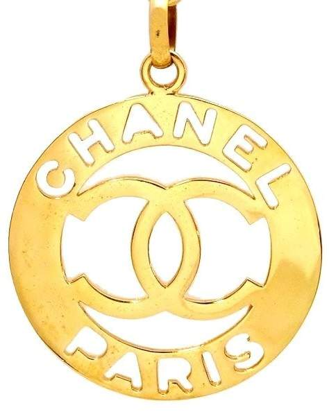 Chanel CC Logo Gold Tone Metal Huge Pendant Necklace