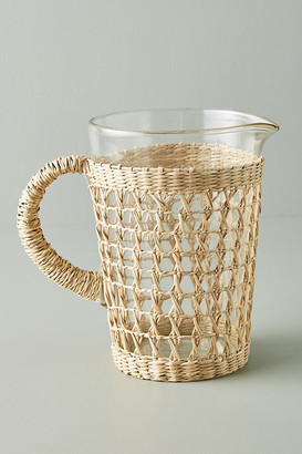 Anthropologie Seagrass-Wrapped Pitcher By in Beige Size PITCHER