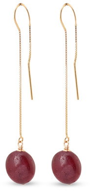 CHAINS AND PEARLS 14k Gold and Ruby Dangle Earrings