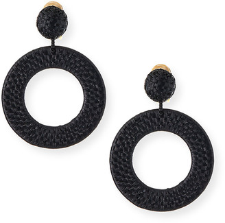 Oscar de la Renta Raffia Hoop-Drop Clip Earrings