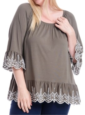 Fever Plus Size Embroidered Off-The-Shoulder Top