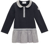 Moncler Long-Sleeve Cotton Stretch Two-Tone Shift Dress, Navy, Size 4-6
