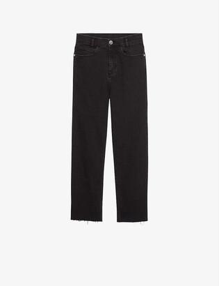 Sandro Jayn cropped straight-leg high-rise stretch-denim jeans