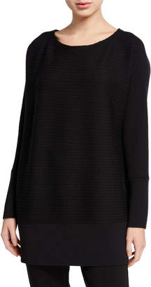 Eileen Fisher Petite Washable Wool Bateau-Neck Ribbed Tunic Sweater