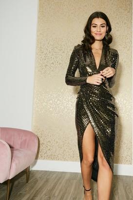 Kands London Divine Gold Sequin Maxi Wrap Dress