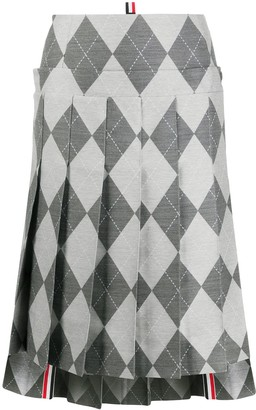 Thom Browne Below The Knee Pleated Skirt 2/ Yoke In Classic Argyle