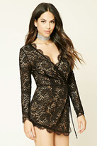 Forever 21 FOREVER 21+ Lace Wrap-Front Romper