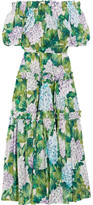 Dolce & Gabbana Off-the-shoulder Floral-print Cotton-poplin Midi Dress - Green