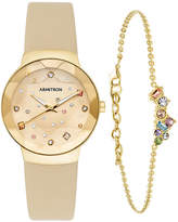 JCPenney Armitron Exclusive Womens Crystal Accent Gold Tone Leather 2-pc. Watch Boxed Set-75/5760chgpst