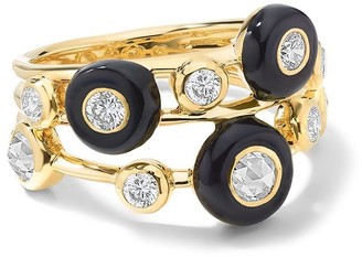 Ippolita 18kt yellow gold Carnevale Stardust 3-Band Cluster diamond ring