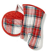 Southern Living Quilted Cotton Plaid Pot Holder & Oven Mitt Set